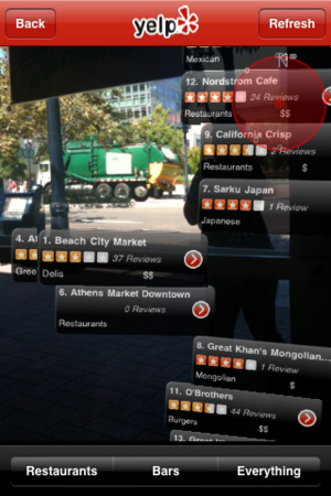 Yelp app shows places around you in real time with 3D positioning